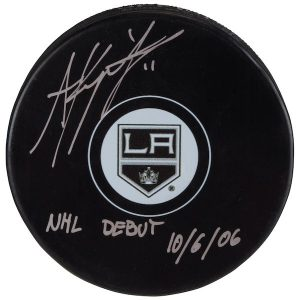 Autographed Los Angeles Kings Anze Kopitar Fanatics Authentic Hockey Puck with NHL Debut 10/6/06 Inscription