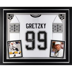 Autographed Los Angeles Kings Wayne Gretzky Upper Deck Deluxe Framed White CCM Replica Jersey – Upper Deck
