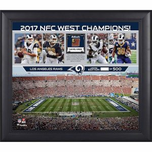 Fanatics Authentic Los Angeles Rams Framed 15″ x 17″ 2017 NFC West Champions Collage with a Piece of Game-Used Football – Limited Edition