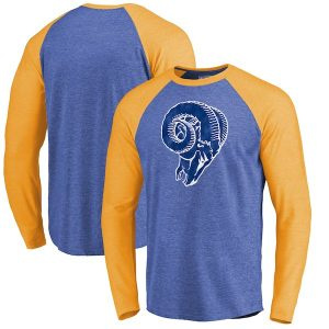 Fanatics Branded Los Angeles Rams Royal Showtime Raglan Tri-Blend Long Sleeve T-Shirt