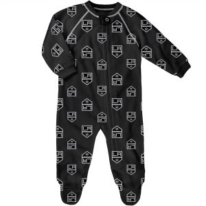 Infant Los Angeles Kings Black Team Print Raglan Zip Coverall
