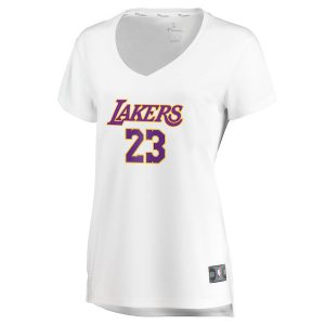 c06dd65c573 LeBron James Los Angeles Lakers Fanatics Branded Women s 2017 18 Fast Break  Replica Jersey White