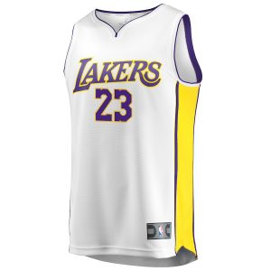 933504a86 LeBron James Los Angeles Lakers Youth 2017 18 Fast Break Replica Jersey  White – Association