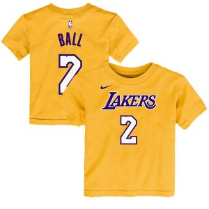Lonzo Ball Los Angeles Lakers Nike Toddler Name & Number T-Shirt – Yellow