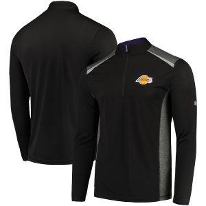 Los Angeles Lakers Majestic Loose Ball Half-Zip Pullover Jacket – Black