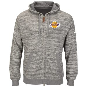 Los Angeles Lakers Majestic Tek Patch Full-Zip Hoodie – Heather Charcoal