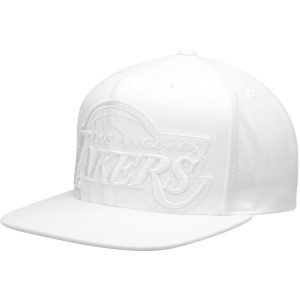 Los Angeles Lakers Mitchell & Ness Cropped XL Logo Snapback Adjustable Hat – White