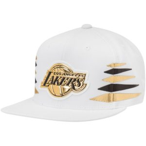 Los Angeles Lakers Mitchell & Ness Solid Gold Diamond Snapback Adjustable Hat – White