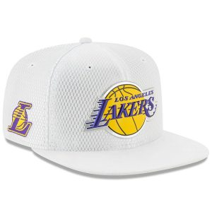 Los Angeles Lakers New Era Youth 2017 Official On-Court Collection 9FIFTY Snapback Hat – White
