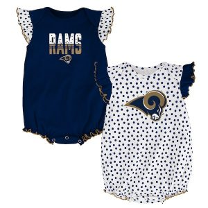 Los Angeles Rams Girls Newborn & Infant Navy Polka Fan 2-Pack Bodysuit Set