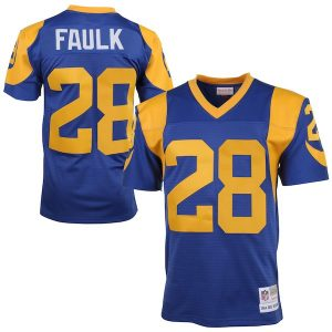 Mitchell & Ness Marshall Faulk St. Louis Rams Royal Blue/Yellow 1999 Retired Player Vintage Replica Jersey