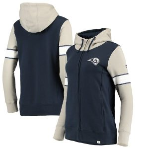 NFL Pro Line by Fanatics Branded Los Angeles Rams Women's Navy/Heathered Gray Iconic Fleece Full-Zip Hoodie