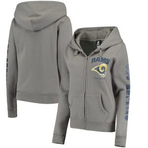 New Era Los Angeles Rams Women's Gray Playbook Glitter Sleeve Full-Zip Hoodie