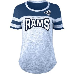 New Era Los Angeles Rams Women's Navy Space Dye Bling T-Shirt