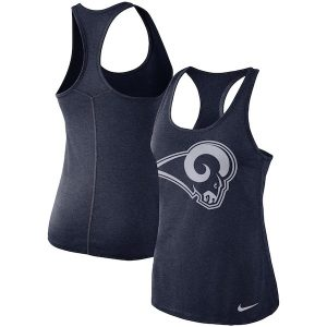 Nike Los Angeles Rams Women's Heathered Navy Logo Performance Tank Top