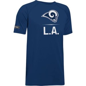 Under Armour Los Angeles Rams Youth Navy Combine Authentic Lockup Tech Performance T-Shirt