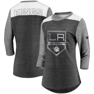 Women's Los Angeles Kings Fanatics Branded Heathered Black/Heathered Gray Iconic Tri-Blend 3/4-Sleeve T-Shirt