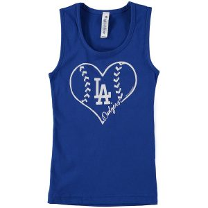Girls Youth Los Angeles Dodgers Soft as a Grape Royal Cotton Tank Top