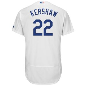 Men's Los Angeles Dodgers Clayton Kershaw Majestic White Home Flex Base Authentic Collection Player Jersey